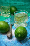 Alcoholic cocktail with additions of lime Royalty Free Stock Images