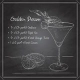 Alcoholic Cocktail Golden dream on black board Stock Photos