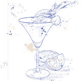 Alcoholic Cocktail Golden dream on a notebook page Stock Images