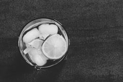 Alcoholic cocktail with  lemon and ice closeup top view. Black and white photo Royalty Free Stock Photography