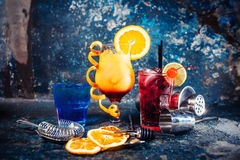 Alcoholic cocktail with lime and fruit garnish Royalty Free Stock Images
