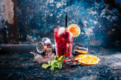 Alcoholic cocktail with lime and mint garnish Stock Image