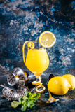 Alcoholic cocktail, refreshment drink with vodka and lemons served at bar Royalty Free Stock Photography