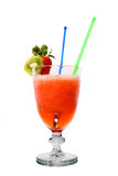 Alcoholic cocktail with strawberry and kiwi Royalty Free Stock Photography