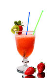 Alcoholic cocktail with strawberry and kiwi Stock Photos