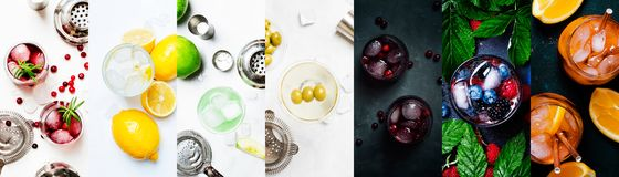 Alcoholic cocktails in assrtment. Top view, flat lay. Photo collage. Still lilfe stock photo