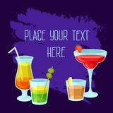 Alcoholic cocktails banner with place for your text, poster with summer drinks, cocktail party invitation, cocktail royalty free illustration