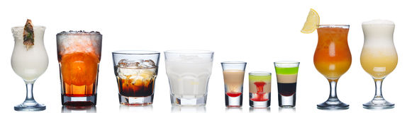 Alcoholic cocktails. Collection of refreshing alcholic cocktails Stock Images