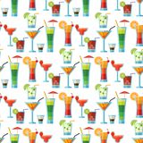Alcoholic cocktails seamless pattern background fruit cold drinks tropical cosmopolitan freshness party alcohol sweet. Alcoholic cocktails fruit cold drinks Stock Image