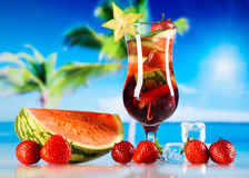 Alcoholic cocktails with fruits, natural colorful tone Royalty Free Stock Photos