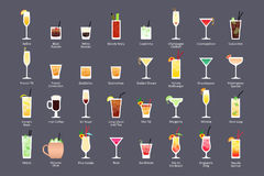 Alcoholic cocktails, IBA official cocktails Contemporary Classics. Icons set in flat style on dark background. Vector Royalty Free Stock Photos