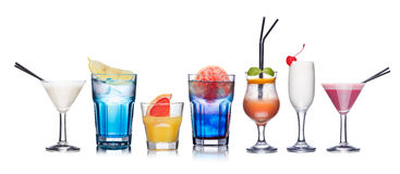 Alcoholic cocktails isolated on white. Collection of refreshing alcholic cocktails Stock Images