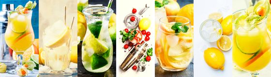 Alcoholic cocktails with lemon in assortment. Close-up. Photo collage royalty free stock image