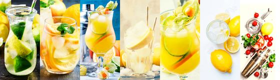 Alcoholic cocktails with lemon in assortment. Close-up. Photo collage stock photography