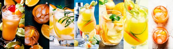 Alcoholic cocktails with orange in assortment. Close-up. Photo collage stock image