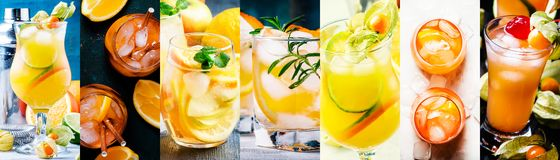 Alcoholic cocktails with orange in assortment. Close-up. Photo collage. Still lilfe stock photos