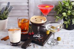 Alcoholic cocktails in the range Stock Photo