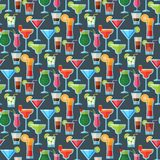 Alcoholic cocktails seamless pattern background fruit cold drinks tropical cosmopolitan freshness party alcohol sweet. Alcoholic cocktails fruit cold drinks royalty free illustration