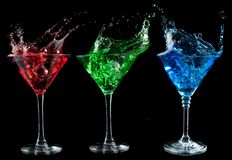 Alcoholic cocktails set - red, green, blue. Stock Photography
