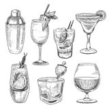 Alcoholic cocktails sketch stock illustration