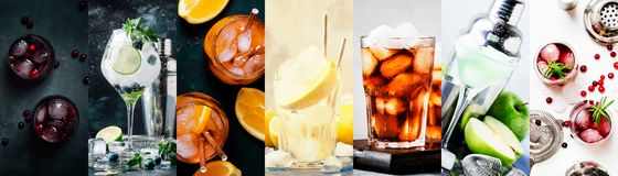 Alcoholic cocktails with strong drinks, soda, berries and fruit in assortment. Close-up. Photo collage royalty free stock photos