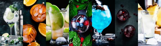 Alcoholic cocktails with strong drinks, soda, berries and fruit in assortment. Close-up. Photo collage. Still lilfe stock images