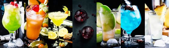 Alcoholic cocktails with strong drinks, soda, berries and fruit in assortment. Close-up. Photo collage royalty free stock image