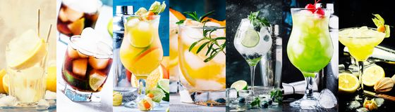 Alcoholic cocktails with strong drinks, soda, berries and fruit in assortment. Close-up. Photo collage. Still lilfe royalty free stock images