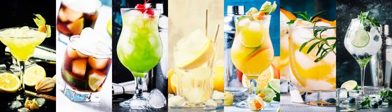 Alcoholic cocktails with strong drinks, soda, berries and fruit in assortment. Close-up. Photo collage stock image