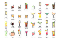 Alcoholic cocktails with titles. IBA official cocktails, Contemporary Classics. Icons set in flat style. On white background Stock Photography