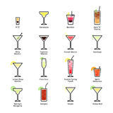 Alcoholic cocktails with titles. IBA official cocktails, New Era Drinks. Icons set in flat style Royalty Free Stock Photos
