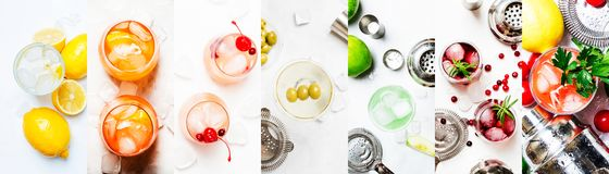 Alcoholic cocktails. Top view, flat lay. Light background. Photo collage royalty free stock photo