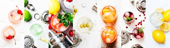 Alcoholic cocktails. Top view, flat lay. Light background. Photo collage. Still lilfe royalty free stock photos