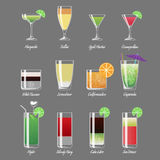 Alcoholic cocktails vector illustration. Margarita and cosmopolitan. Alcoholic cocktails vector illustration. Mojito and caipirinha, margarita and cosmopolitan vector illustration