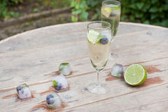 Alcoholic coctail Hugo with peppermint and lime Royalty Free Stock Images