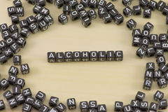 The alcoholic. The concept of the word alcoholic stock photography