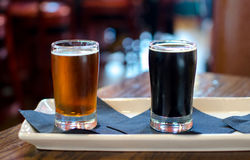 Alcoholic craft beer samples at a restaurant Royalty Free Stock Photo
