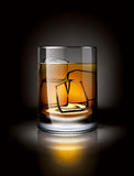 Alcoholic drink with ice in a dark environment Royalty Free Stock Images