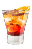 Alcoholic drink with ice and orange slice Stock Images