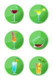 Alcoholic Drink Icons Stock Photography