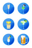 Alcoholic Drink Icons Royalty Free Stock Images