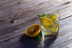 Alcoholic drink with lemon and ice Royalty Free Stock Photo