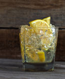 Alcoholic drink with lemon and ice Stock Photo