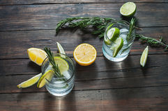 Alcoholic drink with lemon, rosemary and ice on rustic wooden table Stock Images