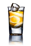 Alcoholic drink  and natural ice isolated on white Royalty Free Stock Photos