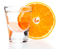 Alcoholic drink and orange Stock Photo