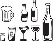 Alcoholic Drink Outlines. Various alcoholic drink outlines in black and white Stock Image