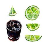 Alcoholic drink Rum and Cola. Cuba libre royalty free illustration