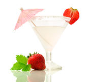 Alcoholic drink with strawberries Stock Photos