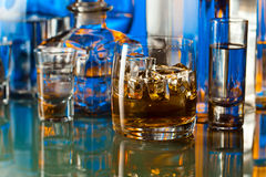 Alcoholic drinks in bar Royalty Free Stock Photos